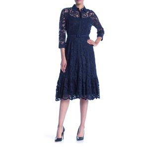 Nanette Lepore Navy Lace Belted Fit & Flare Dress